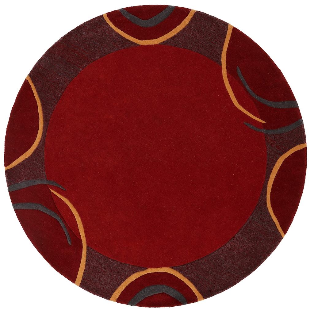 Theko Exklusiv Wollteppich »Bellary«, rund, 13 mm Höhe, reine Wolle, mit Bordüre, Wohnzimmer