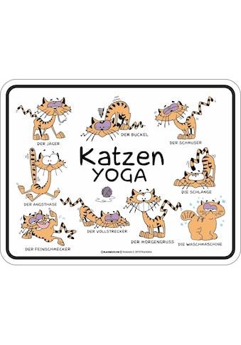 Rahmenlos Blechschild mit Katzenmotiv »Katzen - Yoga« kaufen
