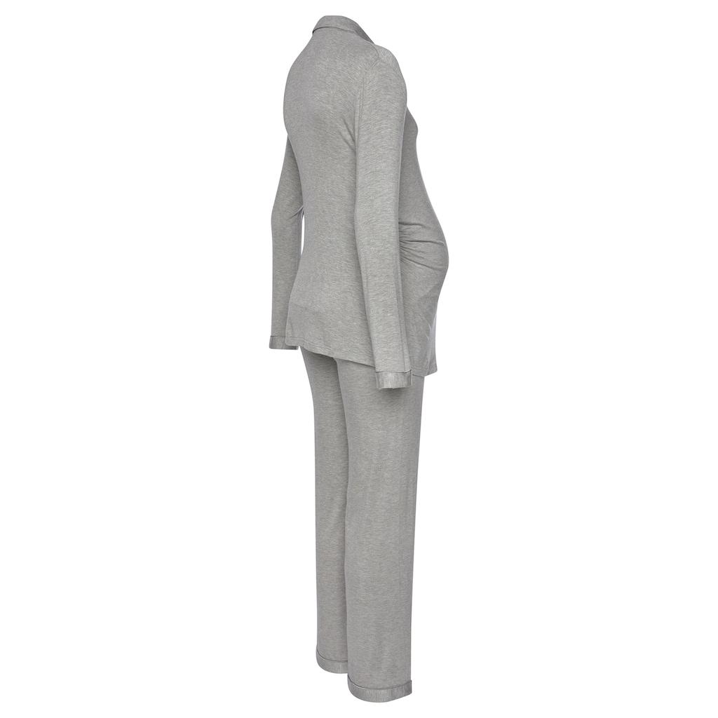 LASCANA Umstandspyjama, mit Knopfleiste und Raffung