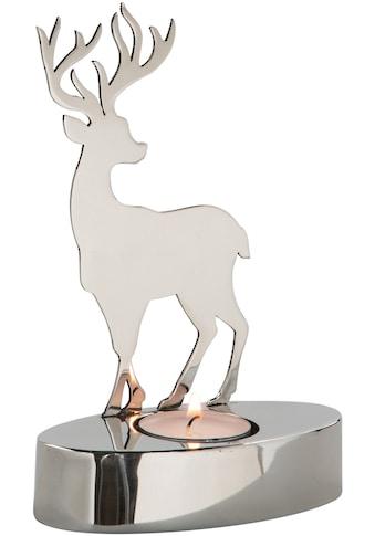 Fink Teelichthalter »Hirsch JASPER«, aus Edelstahl, Höhe ca. 17,5 cm kaufen