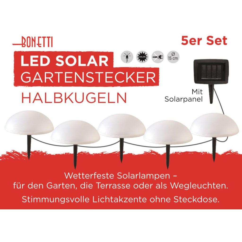 BONETTI LED Gartenleuchte »Solar Halbkugeln - 5er-Set«, LED-Board, Warmweiß, mit separatem Solarpanel