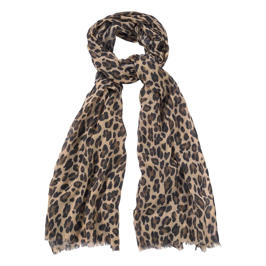 J.Jayz Modeschal, Leichter Schal mit Leo Muster, Animal Print