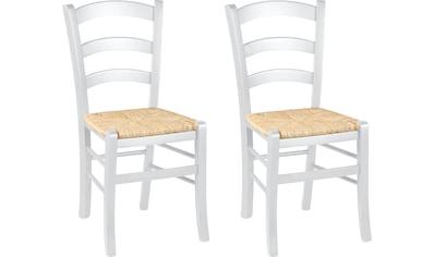 Home affaire 4-Fußstuhl »Super Paesana«, aus Massivholz Buche mit Sitz aus Grasgeflecht kaufen
