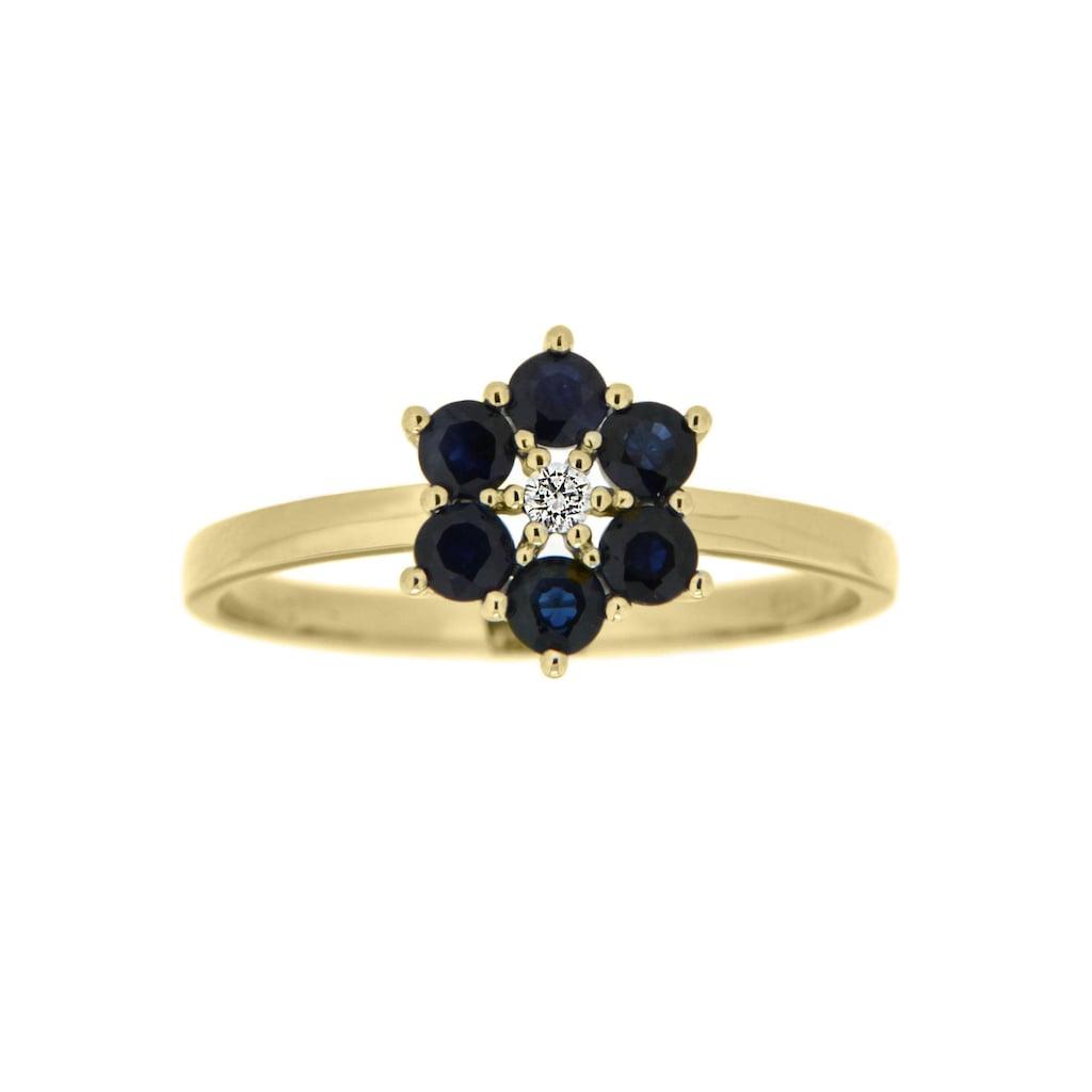 Firetti Goldring »Blume, glanz, massiv«, mit Saphir und Brillant