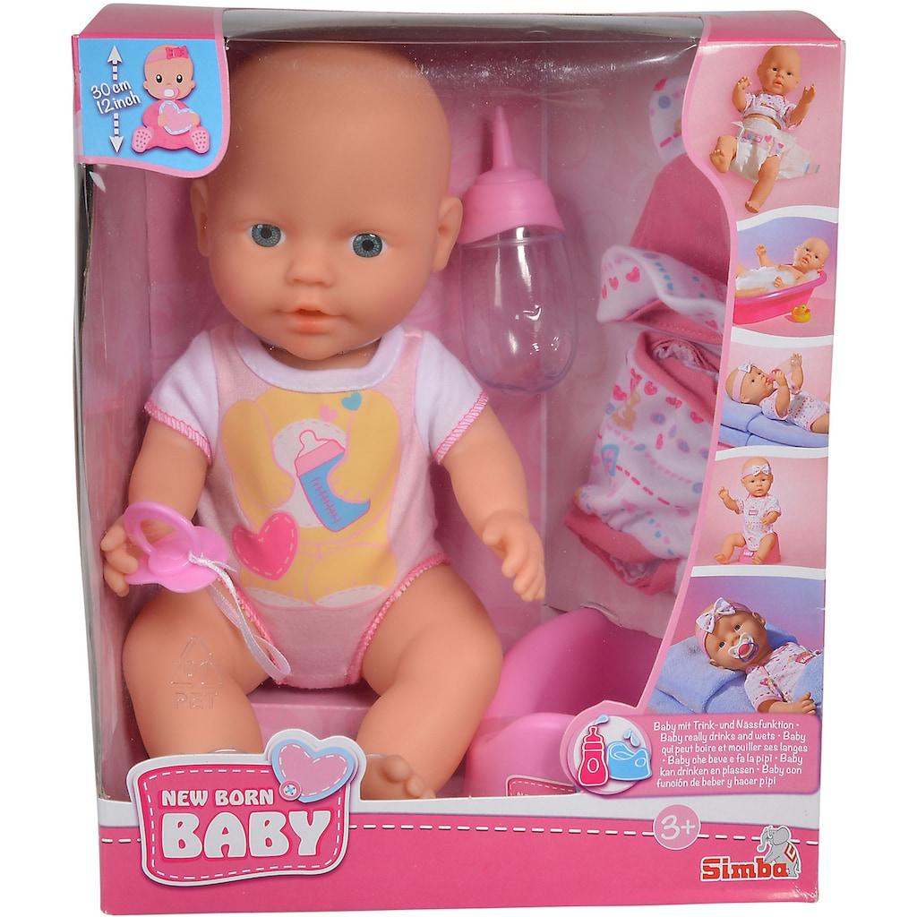 SIMBA Babypuppe »New Born Baby«, (Set, 5 tlg.), mit Trink- und Nässfunktion