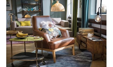 TOM TAILOR Sessel »COZY«, im Retrolook, mit Kedernaht und Knöpfung, Füße Eiche natur kaufen