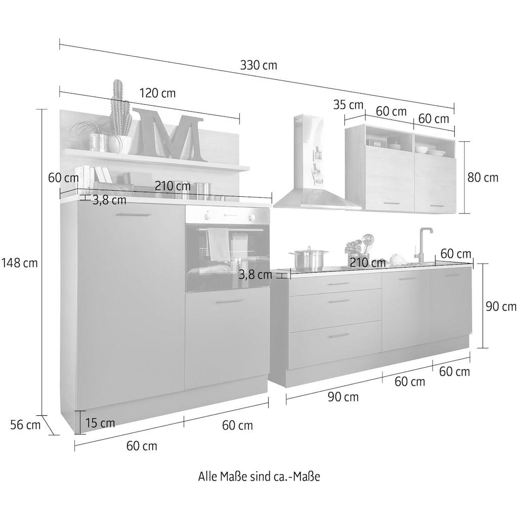 set one by Musterring Küchenzeile »Nashville«, (Set), ohne E-Geräte, Breite 330 cm