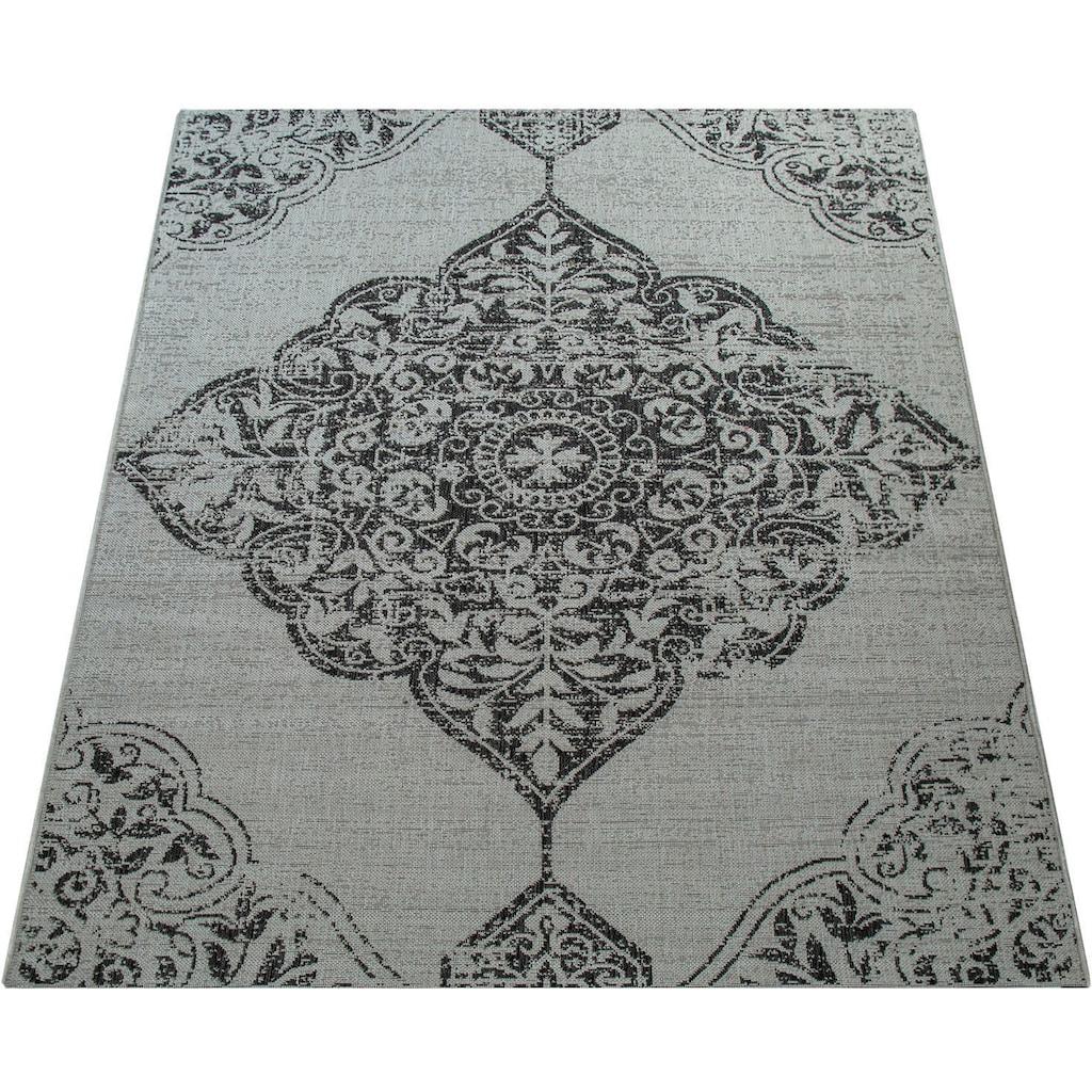 Paco Home Teppich »Coco 202«, rechteckig, 4 mm Höhe, Flachgewebe, In- und Outdoor geeignet, Wohnzimmer