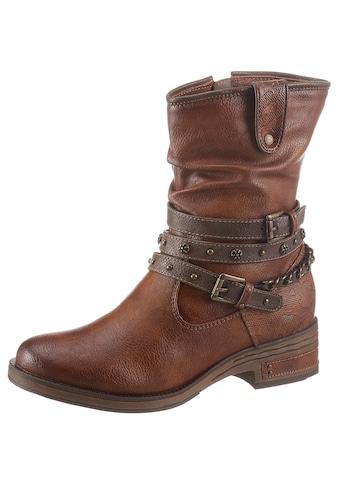 Mustang Shoes Westernstiefelette, mit Zierband und Prägung kaufen
