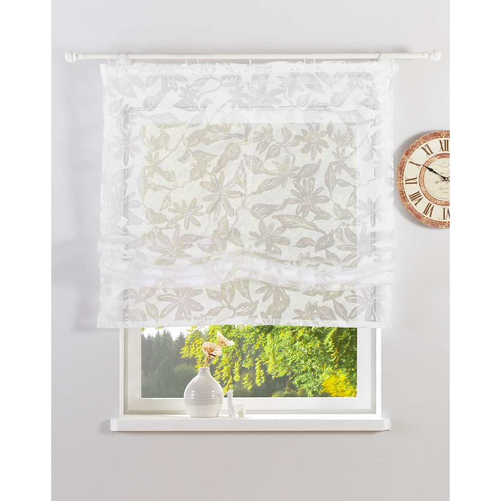 Guido Maria Kretschmer Home&Living Raffrollo »Glen«, mit Klettband, halbtransparent, gewebt, Ausbrenner