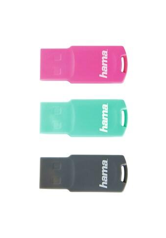 Hama FlashPen, USB Stick, USB 2.0, 8GB, 15MB/s, 3er - Pack »Pink/Grün/Grau Speicherstick« kaufen