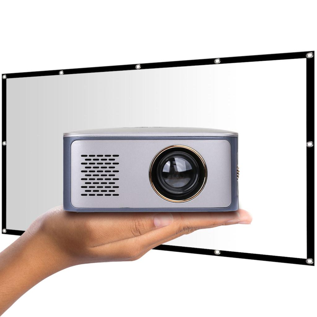 LA VAGUE Mini-Beamer »LV-HD120 inkl. Leinwand«, (1000:1), Projektor mit LCD- und LED-Technologie