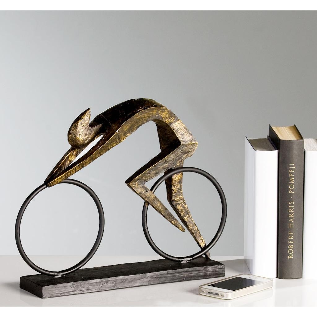 Casablanca by Gilde Dekofigur »Skulptur Racer«, Dekoobjekt, Höhe 29 cm, Fahrradfahrer, mit Spruchanhänger, Wohnzimmer