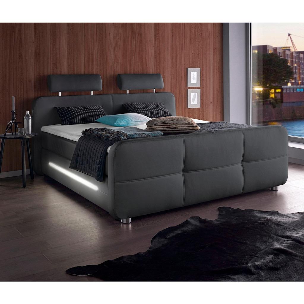 Places of Style Boxspringbett, inkl. Topper und LED-Beleuchtung