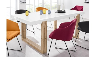 INOSIGN Esstisch »Solid«, mit schönem Holzgestell und einer weißen hochglanzfarbenen... kaufen