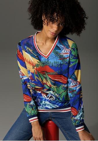 Aniston CASUAL Shirtbluse, mit gestreiften, glitzernden Bündchen - NEUE KOLLEKTION kaufen