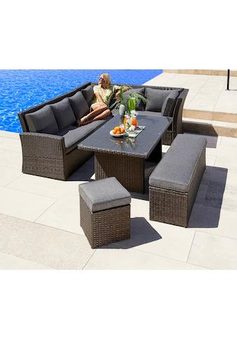 MERXX Gartenmöbelset »Mallorca«, 17 - tlg., 2x 3er - Sofa, Bank, Hocker, Tisch 150x85, Polyrattan kaufen
