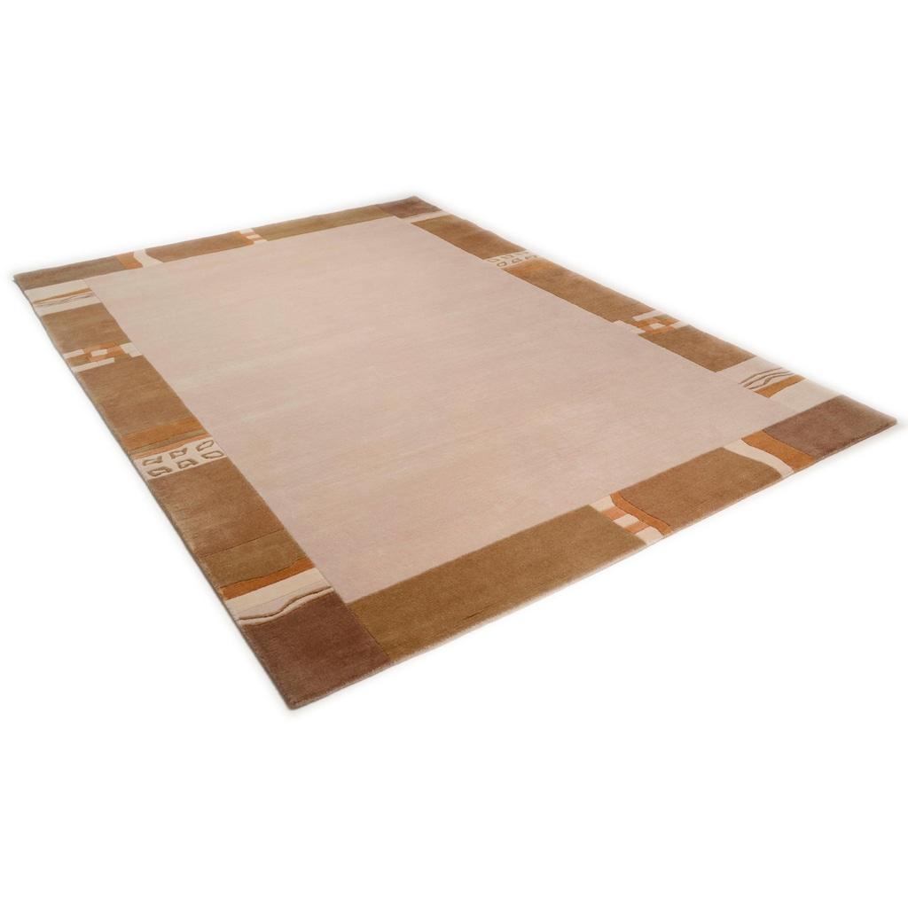 THEKO Wollteppich »Avanti«, rechteckig, 12 mm Höhe, reine Wolle, handgeknüpft, mit Bordüre, Wohnzimmer
