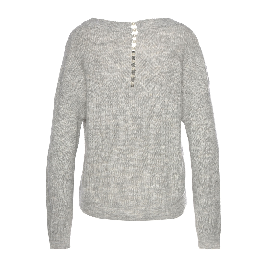 LASCANA V-Ausschnitt-Pullover, mit Zierperlen im Rücken