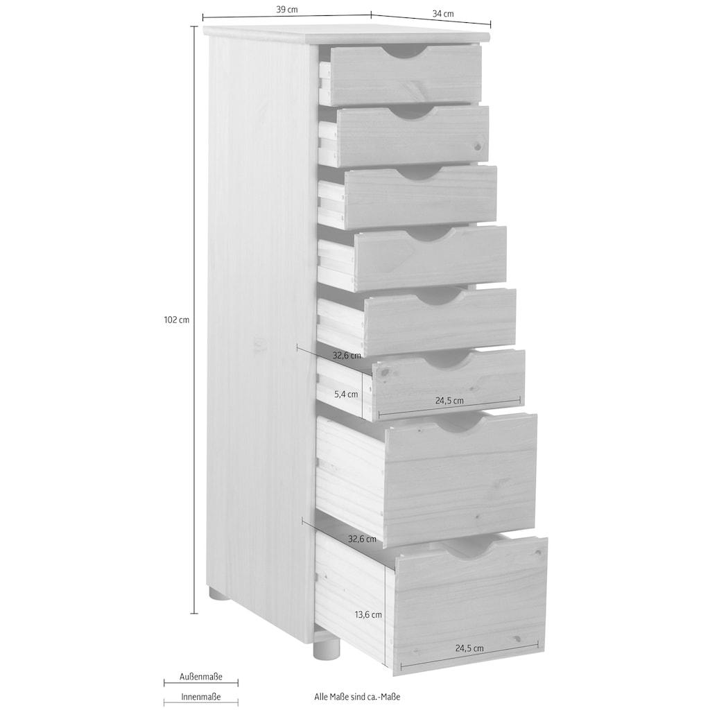 my home Kommode »Gava«, aus schönem massivem Kiefernholz, mit vielen Stauraummöglichkeiten, Breite 34 cm