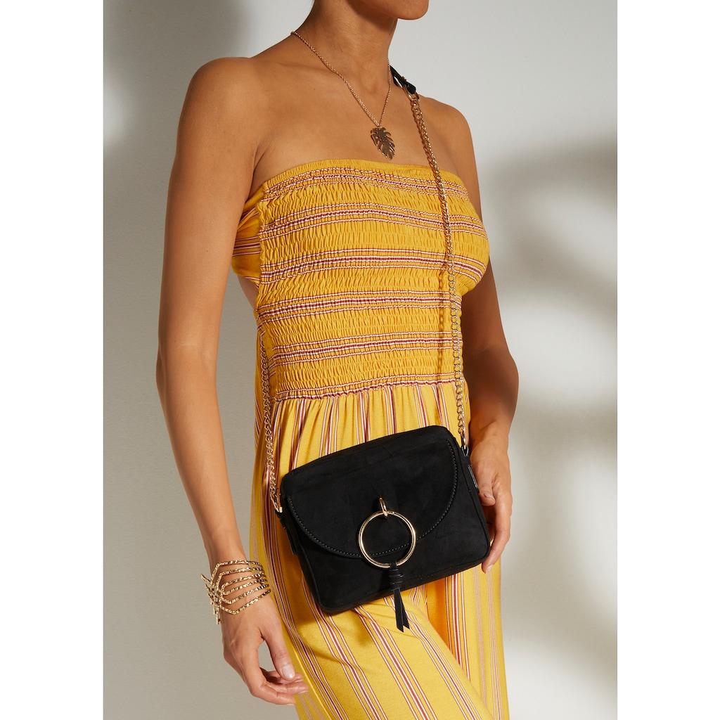 LASCANA Umhängetasche, Minibag mit Kettenhenkel und Ring-Applikation