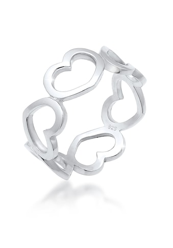 Elli Fingerring »Bandring Herzen Symbol Cut-Out Trend 925er Silber« kaufen