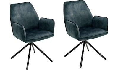 MCA furniture Esszimmerstuhl »Ottawa mit Armlehne«, Vintage Veloursoptik mit Keder,... kaufen
