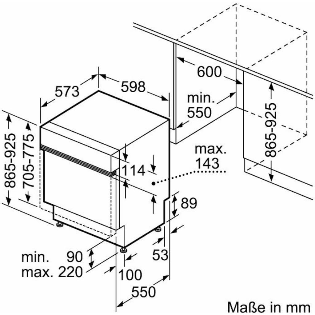 Constructa teilintegrierbarer Geschirrspüler »CG4B05J5«, CG4B05J5, 12 Maßgedecke