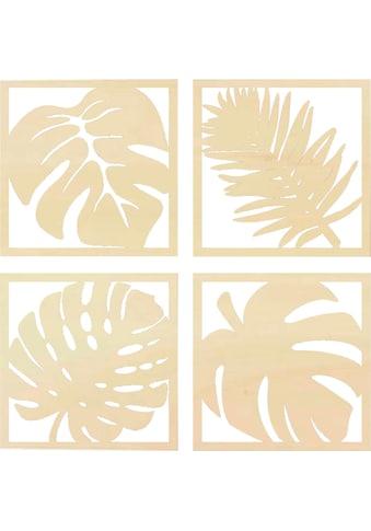 Wall-Art Wanddekoobjekt »Pappel - Blätter Tropical Set«, Wanddeko, aus Holz kaufen
