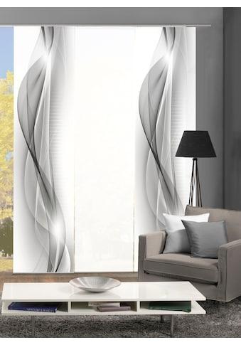 HOME WOHNIDEEN Schiebegardine »NEBLANA 3er SET«, Dekostoff-Seidenoptik, Digital bedruckt kaufen
