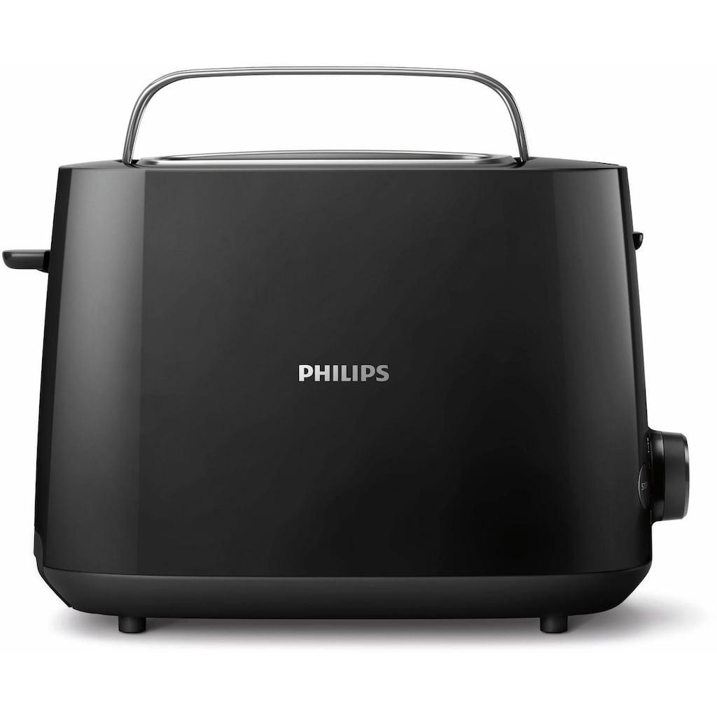 Philips Toaster »HD2581/90 Daily Collection«, 2 kurze Schlitze, 830 W, integrierter Brötchenaufsatz, 8 Bräunungsstufen, schwarz