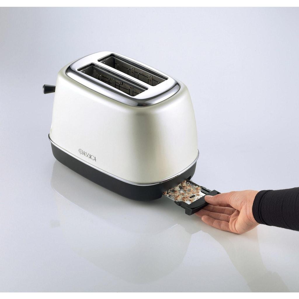 Ariete Toaster »Classica perlmutt 158PE«, 2 kurze Schlitze, für 2 Scheiben, 815 W