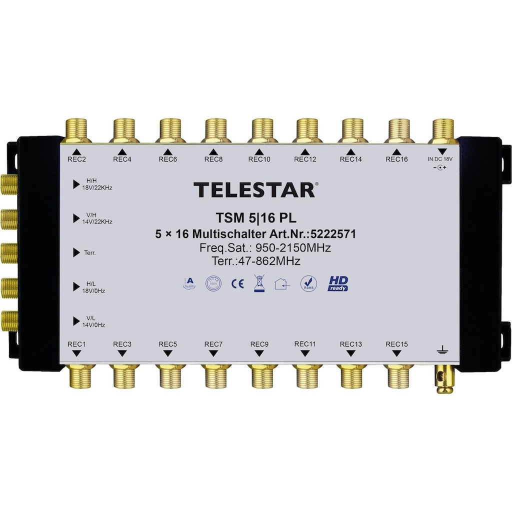 TELESTAR SAT-Multischalter zum Anschluss von bis zu 16 SAT-Receivern