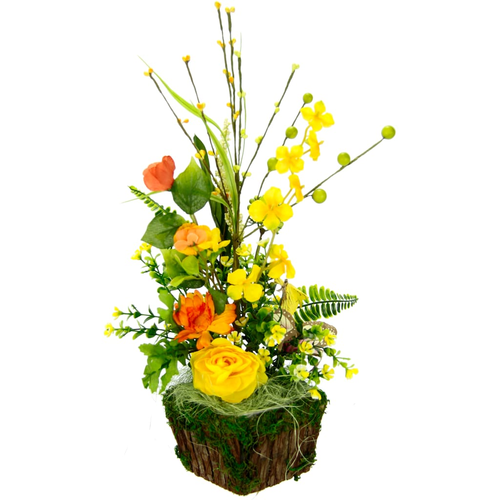 I.GE.A. Kunstblume »Arrangement Ranunkel«, Pflanzschale aus Rinde mit Moos