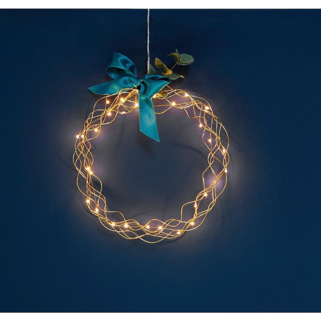 STAR TRADING Dekokranz »Curly«, LED-Lichterkranz, Ø 30 cm