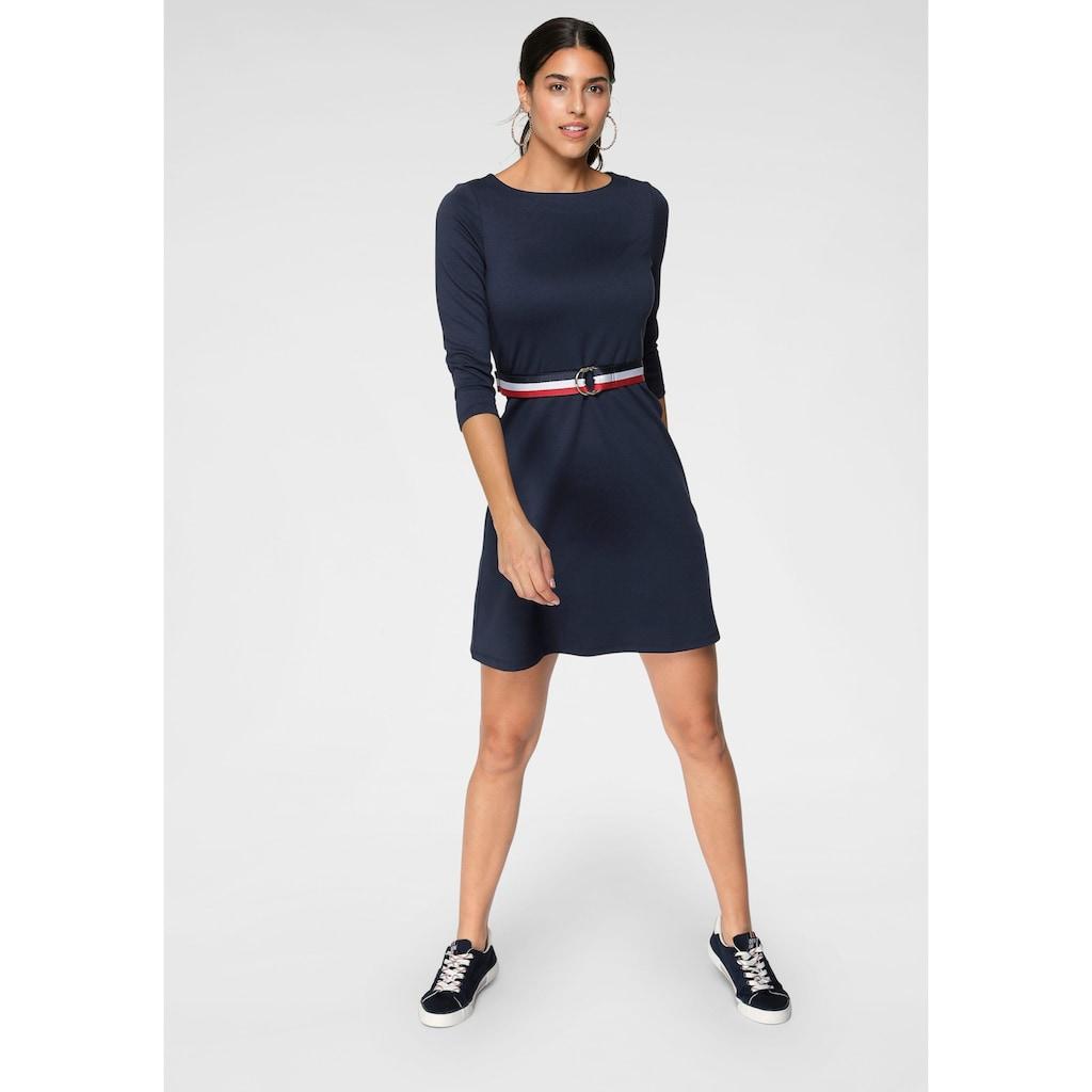 TOM TAILOR Polo Team A-Linien-Kleid, (Set, mit abnehmbarem Gürtel), mit separatem Streifen-Gürtel